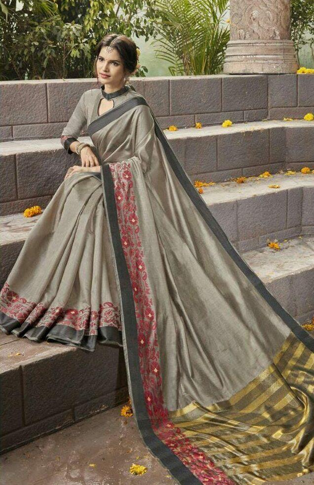 Silver Colour Latest Designer Cotton Silk Saree
