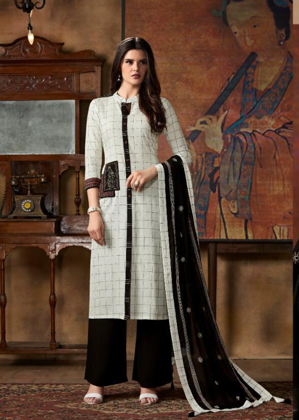 New Fancy Printed Salwar Suits With Dupatta in White Colour