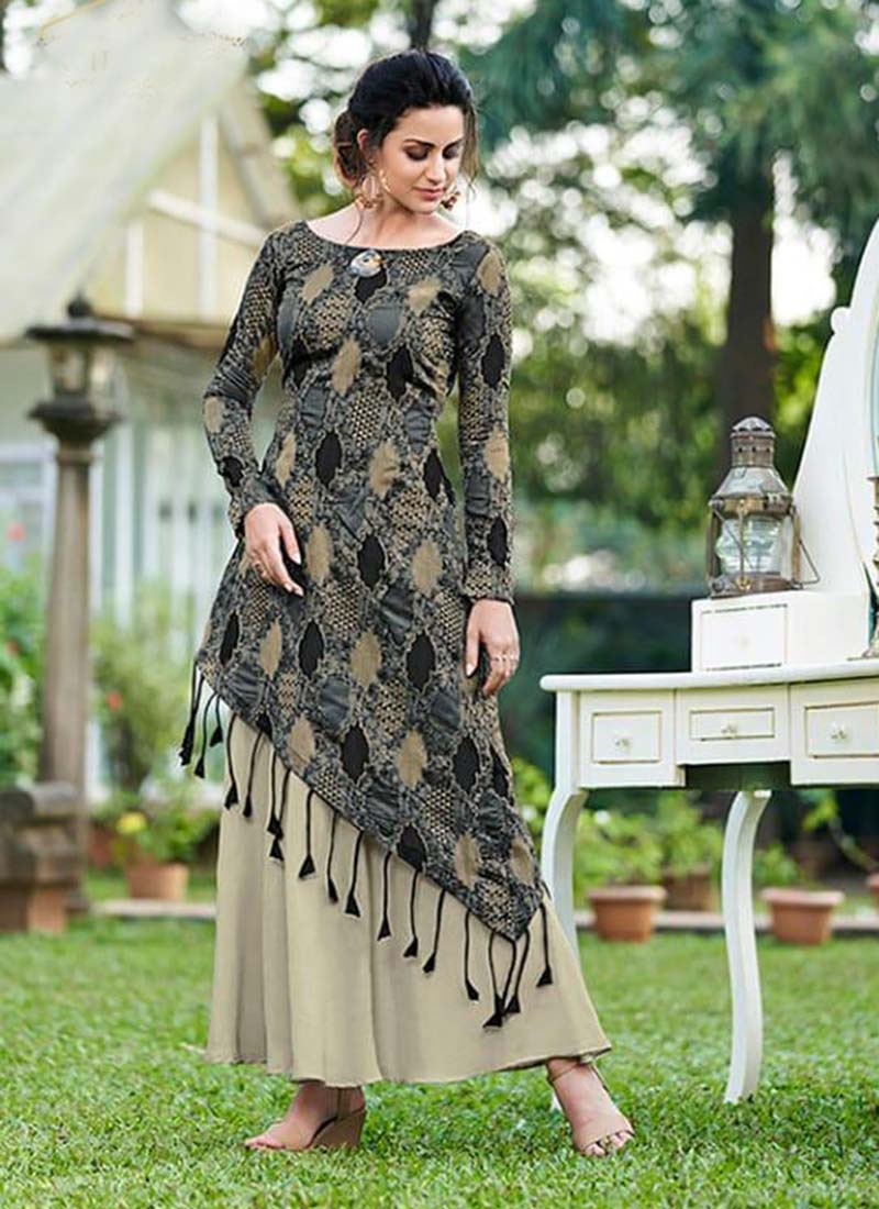 Grey Silk Embroidery Work Party Wear  Gown