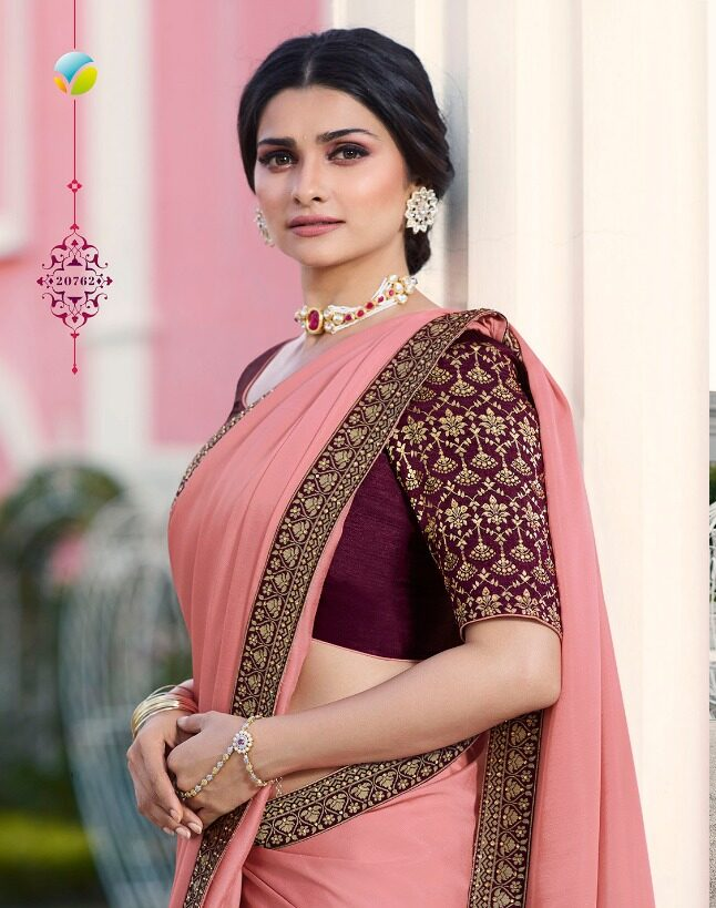 Baby Pink Sequence Royal Saree in Prachi Desai Style
