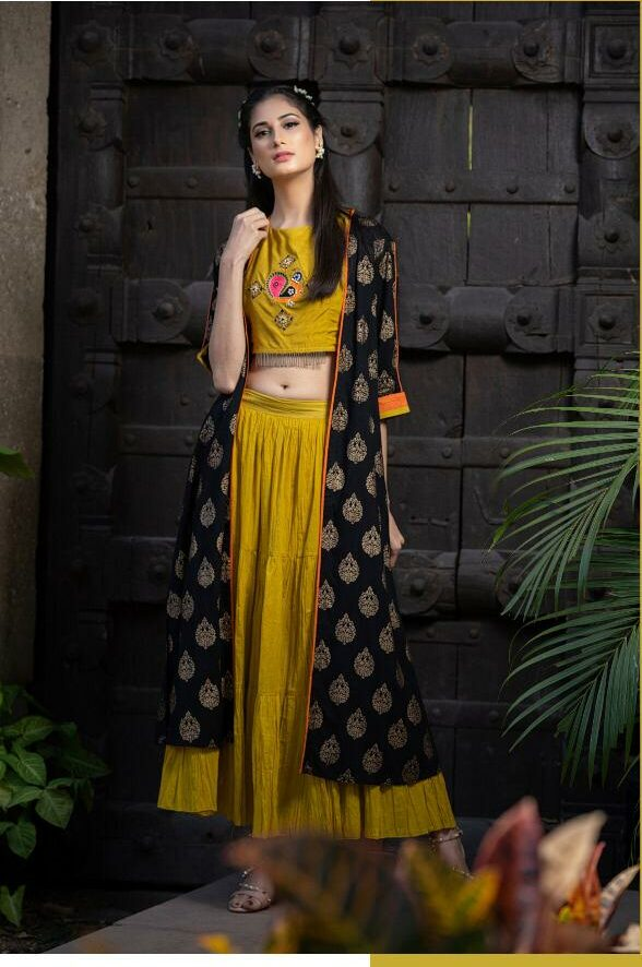 Shrug Style Gown with Top in Mehndi Colour with Black Shrug