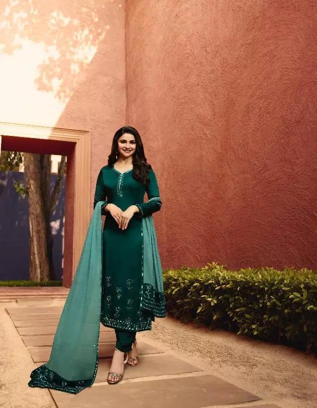 Lolipop Rich Look Prachi Desai Salwar Suits with Embroidered Dupatta
