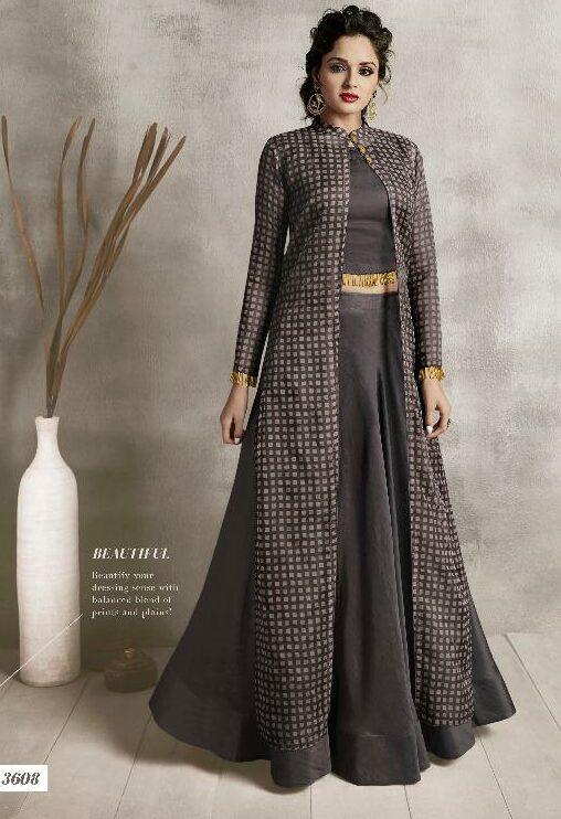Pebble Colour Hot Party Wear Kumkum Bhagya Style Dress