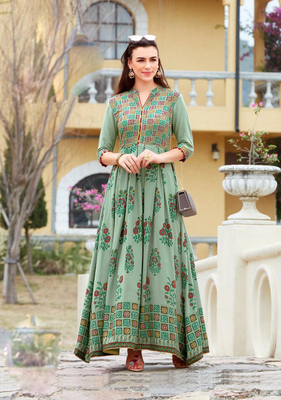 Latest Fashion Anarkali Style Knee Length Kurta Grey  Colour