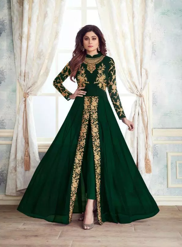 Dark Green Colour New Latest Party Wear Long Crop Gown