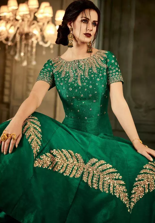 Green Colour Heavy Embroidered Gown