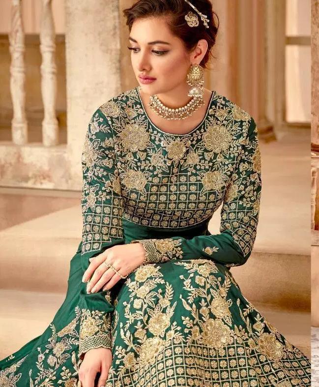 Medium Sea Green latest Party Wear Designer long Gown