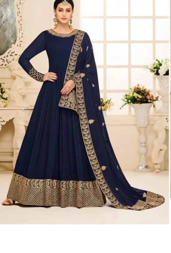 Navy Blue Latest designer Mehendi Ceremony long Gown