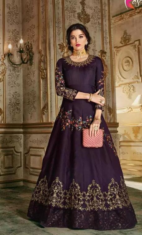 New Wedding Ceremony Stylish Dark Purple Gown