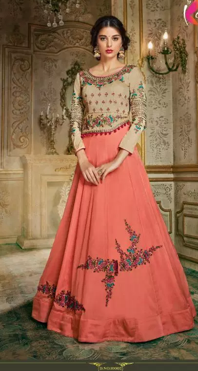 New Wedding Designer Coral Colour Gown