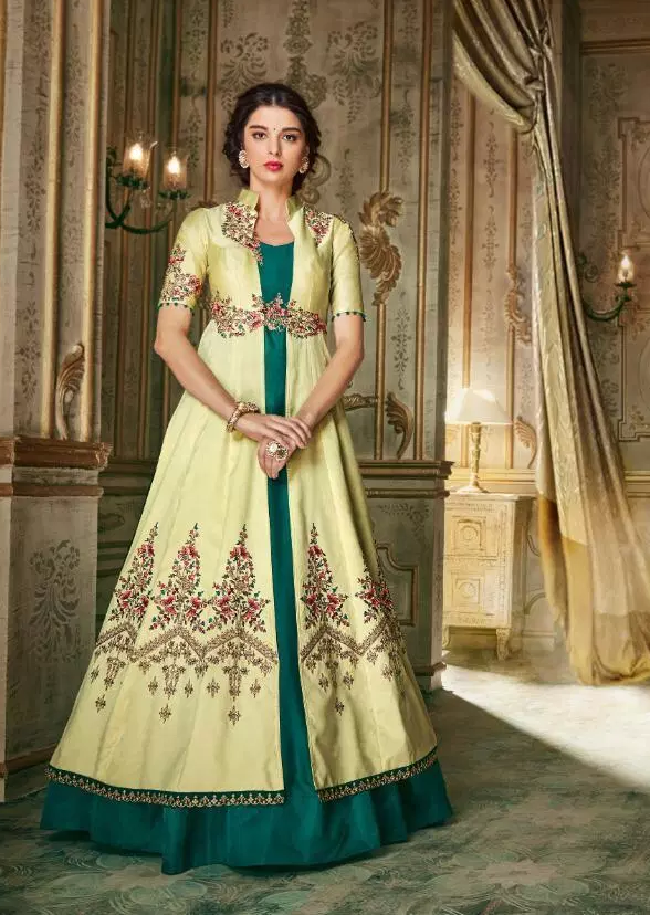 New stylish Ring ceremony Cream Colour gown