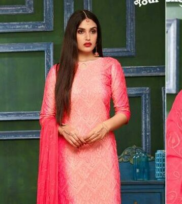 Shahi Collection Pure Cotton Strawberry Colour Best Salwar Suits with Chiffon Dupatta