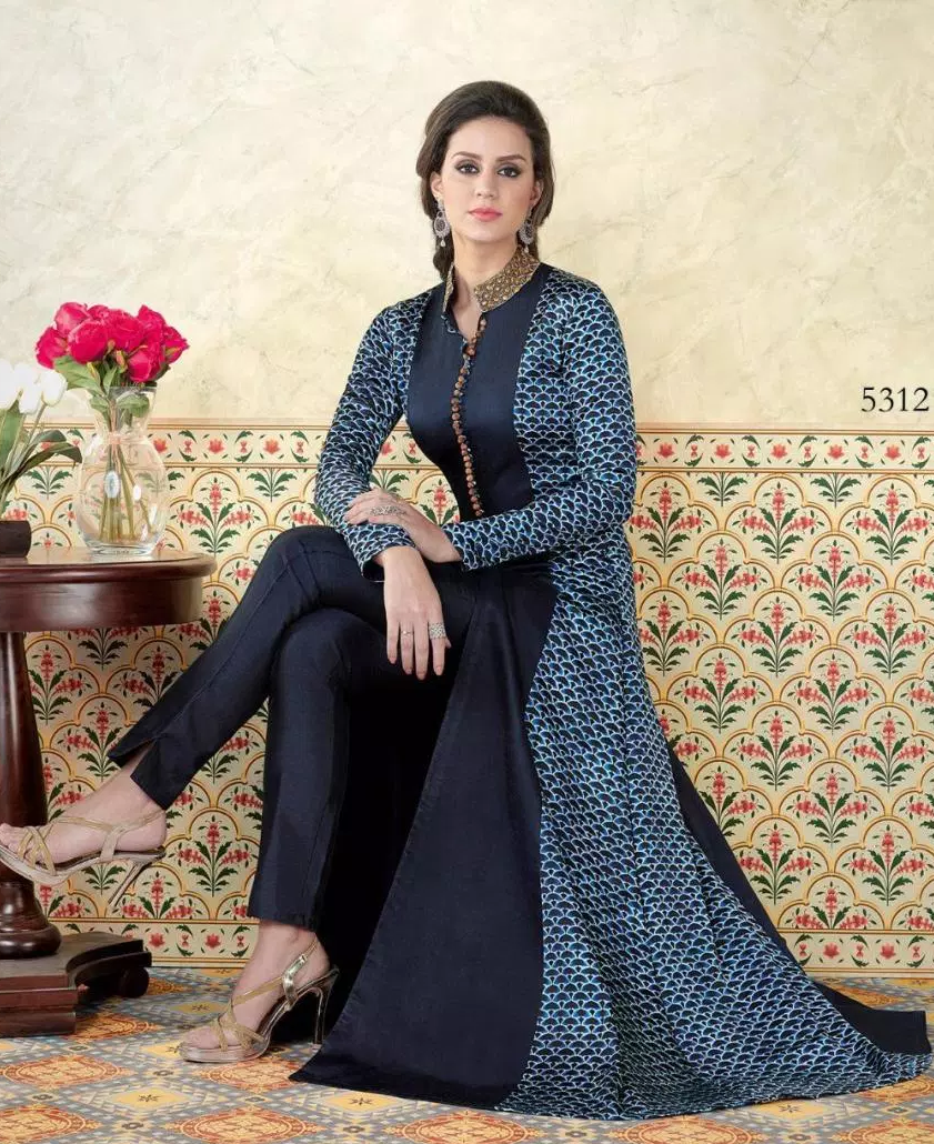 Steel Blue Colour Palazo Salwar Suits in Collar Neck Design