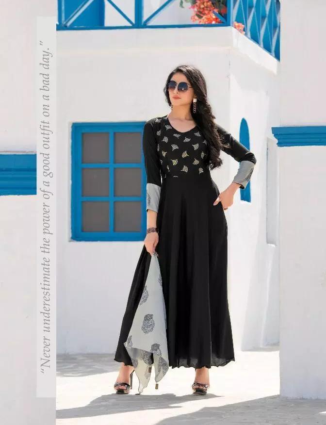 Kundali Bhagya Anarkali Designer Black Colour Long Kurta