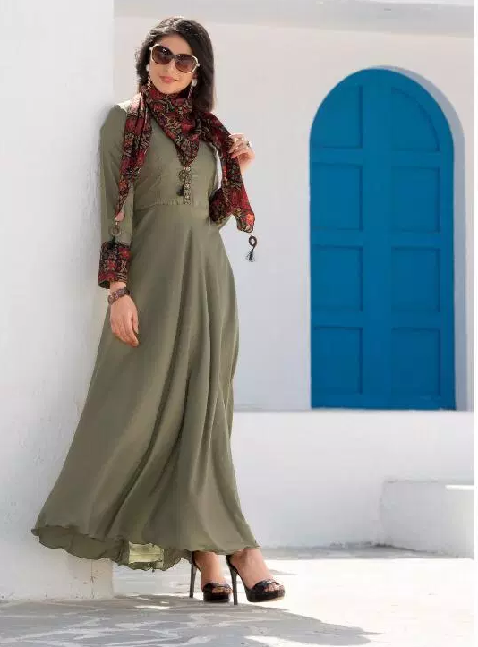 Kundali Bhagya Designer Long Kurti Grey Colour