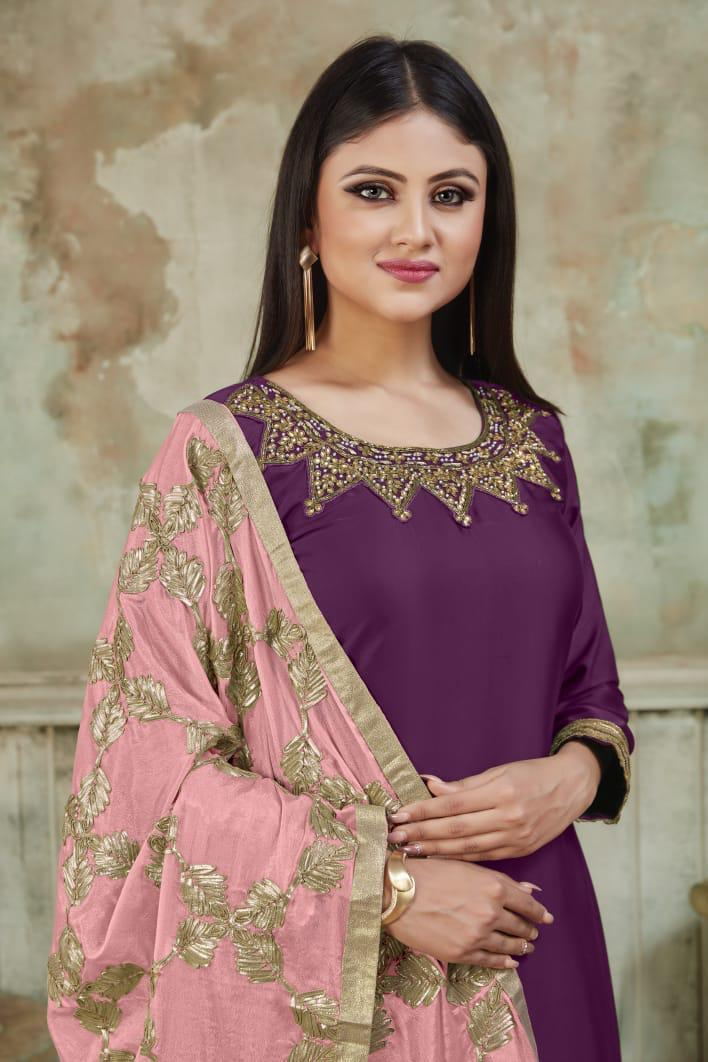 Heavy Embroidered Redviolet Patiala Salwar Suits