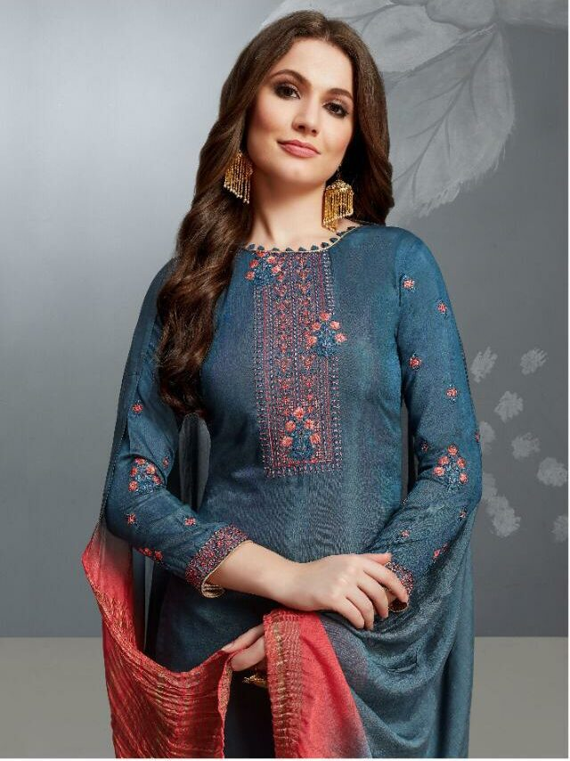 Embroidered Full Sleeves Peacock Blue Salwar Kameez