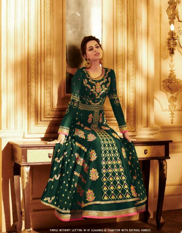 Designer Party Wear Gown in Green Colour
