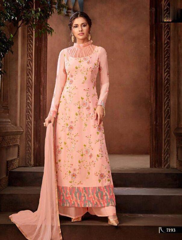 Cream Colour Resham Embroidered Hot Salwar Kameez Designs