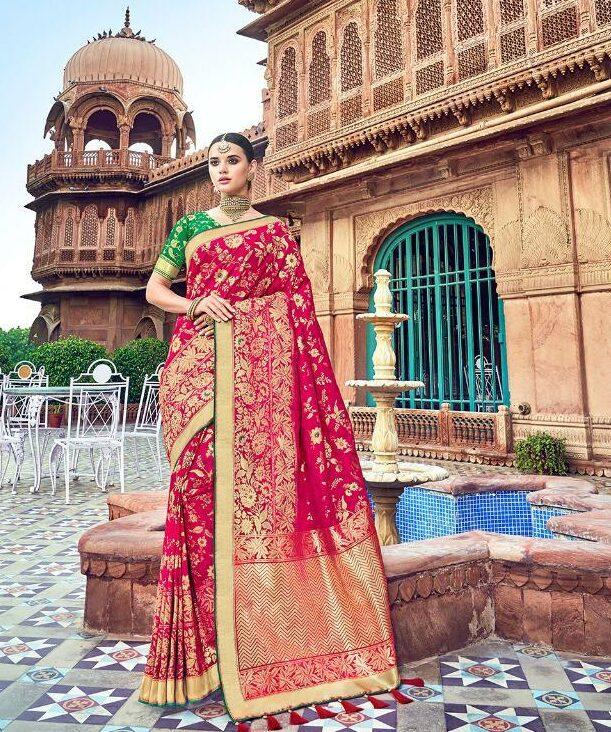 Magenta Color Wedding Silk Sarees