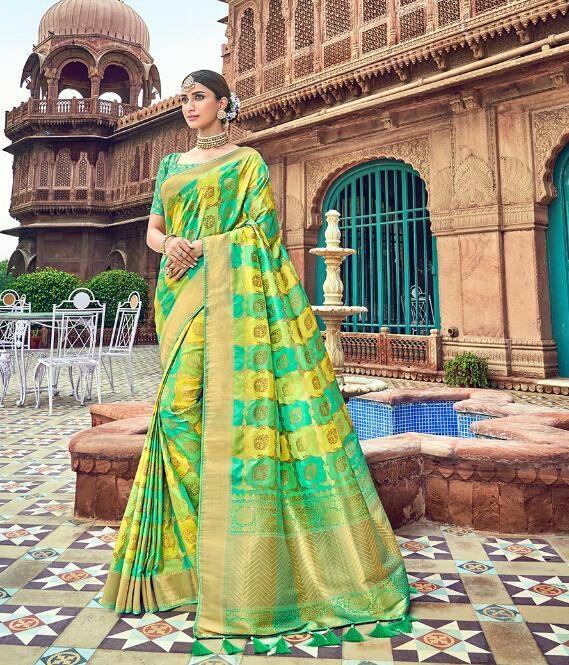 Mango Yellow With Green Border Silk Saree