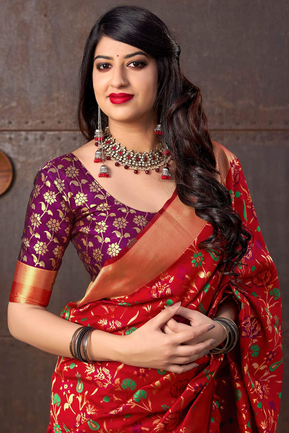 Red Banarasi Saree with Blue Designer Blouse