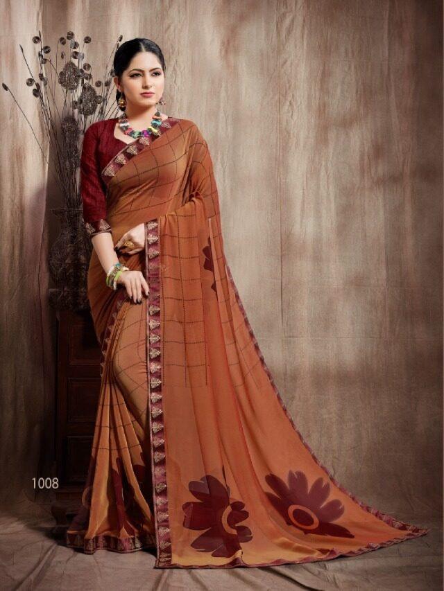 Brown Saree Contrast Blouse