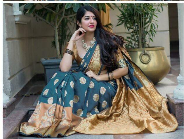 Digital Print Grey Silk Saree with Golden Border