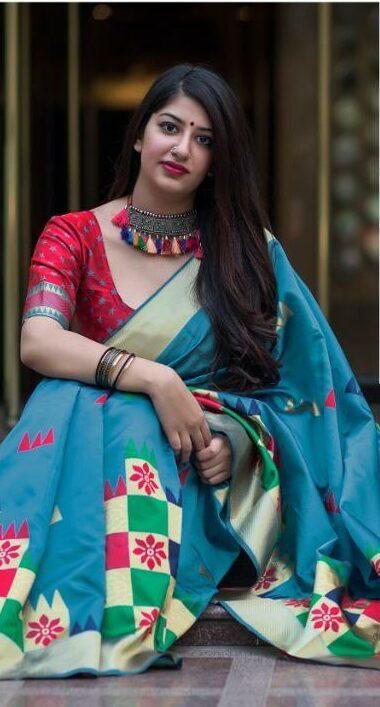 Sky Blue Silk Saree with Price