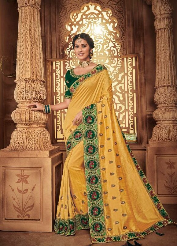 Designer Yellow and Green Wedding Sarees With Price