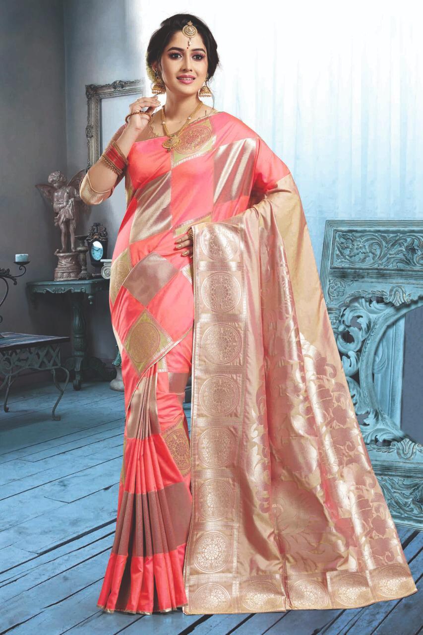 Latest Designer Digital Print Silk Saree in Baby Pink