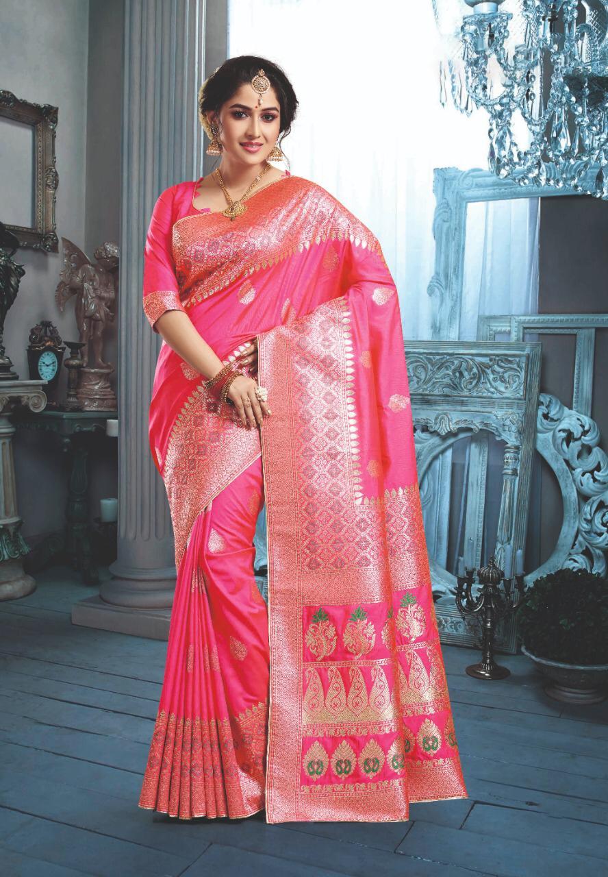Latest Designer Pink Saree in Silk 2020