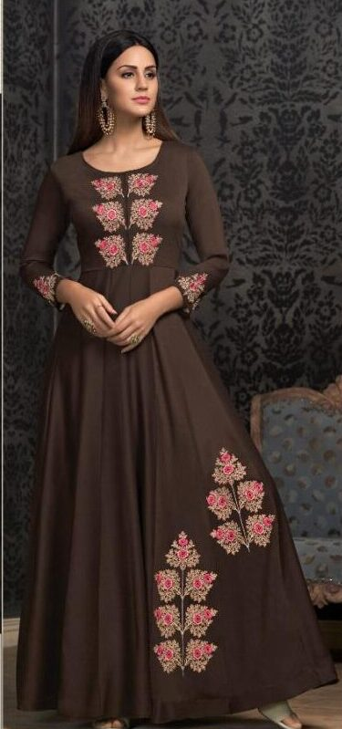 Coffee Colour Stitched Gown Design