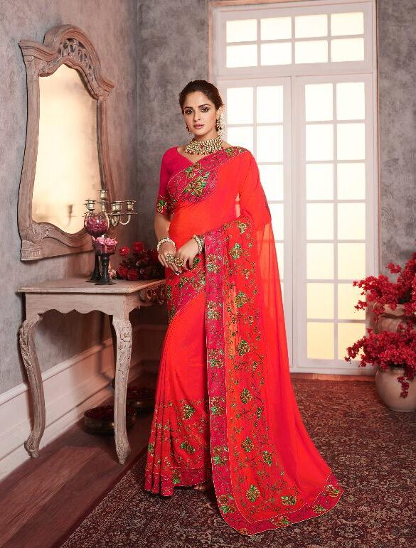 Heavy Embroidered Designer Red Saree For New Bride
