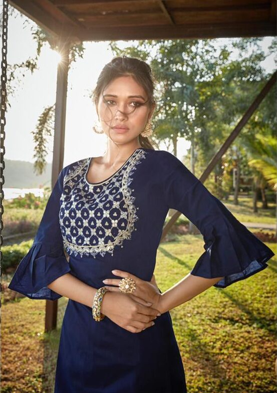 Latest Embroidered Navy Blue Palazzo Dress Indian