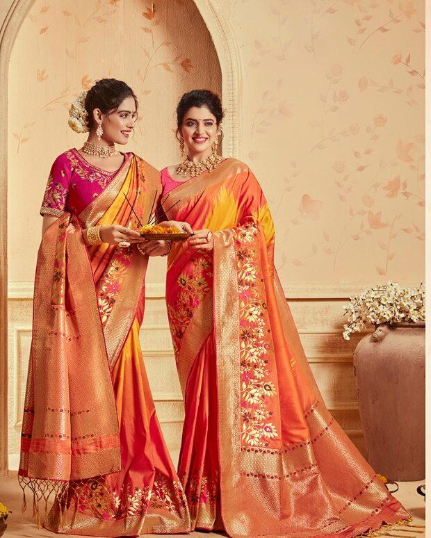 Orange Silk Saree in New Fashion Style