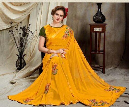 Royal Designer Yellow Saree