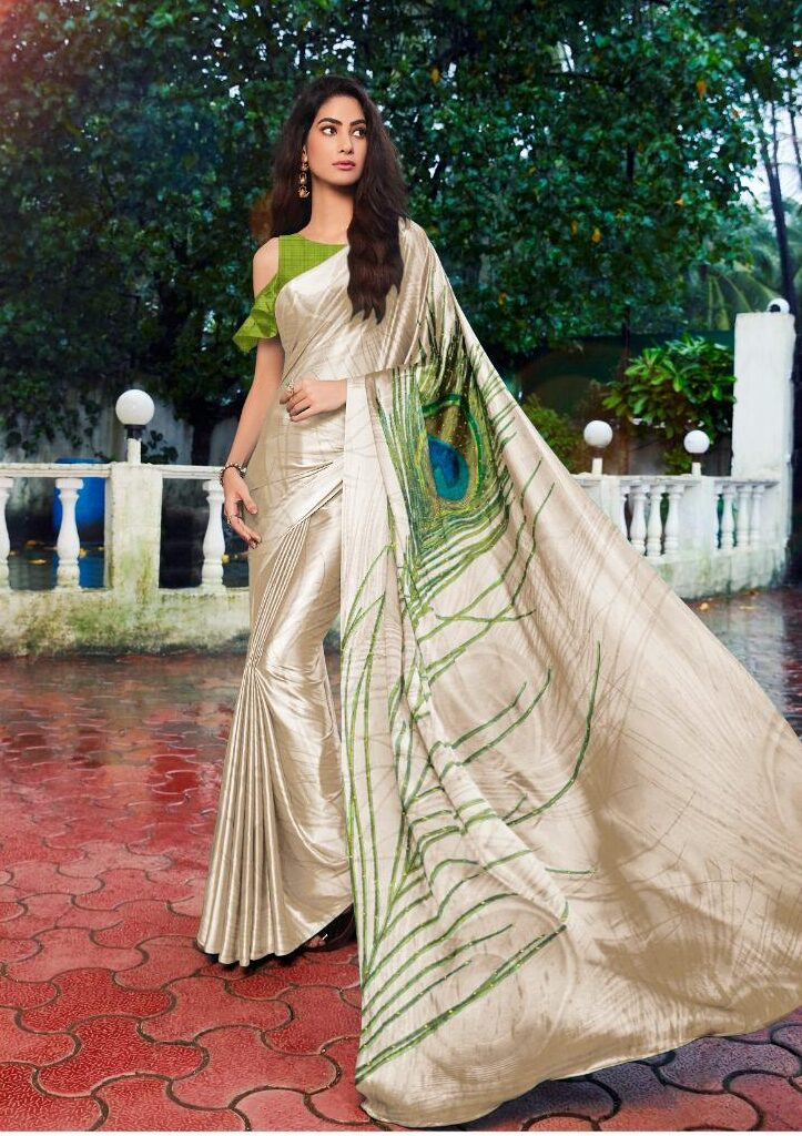 Cream Colour Saree with Applegreen Blouse