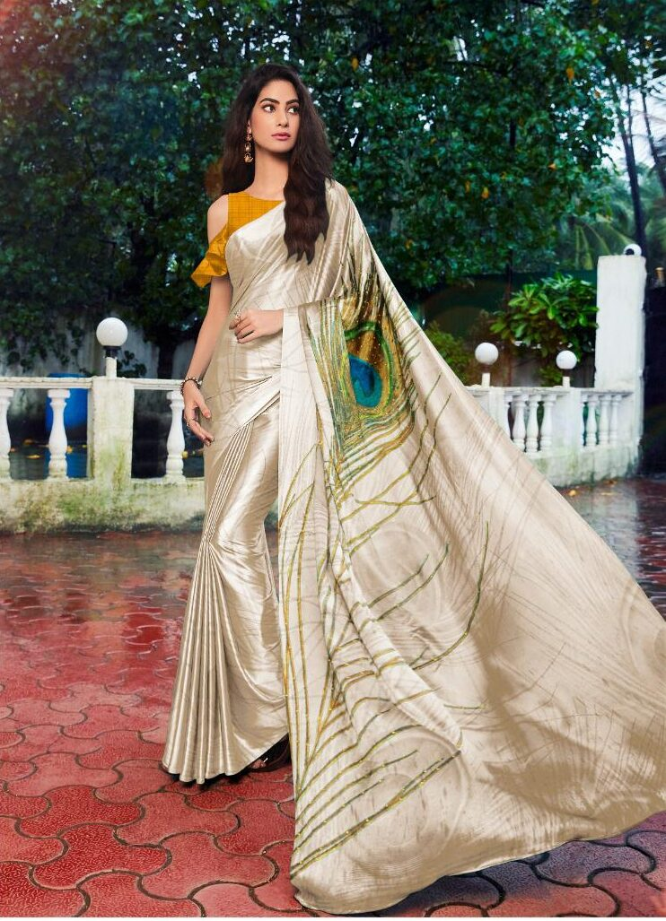 Cream Colour Saree with Contrast Yellow Blouse