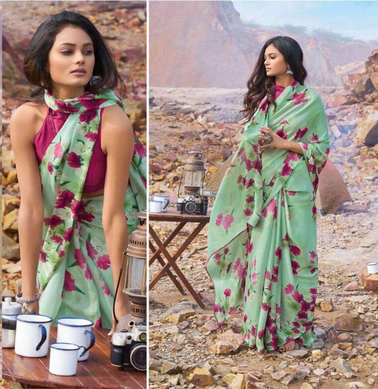 Ladies with Saree in Floral Print Saree