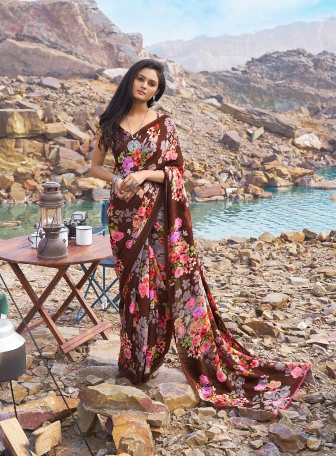 Floral Multi Colour Print Saree in Satin Silk Saree