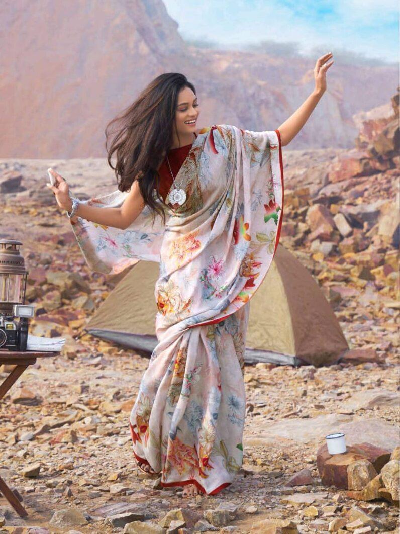 Floral Print Designer Professional Saree
