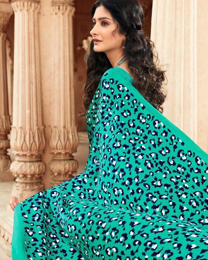 Leopard Print Saree Aquamarine Colour Latest Trends of Saree