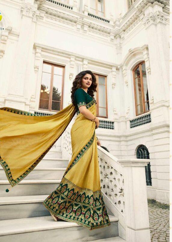 Vinay Fashion Catalogue Royal Yellow Saree for Haldi Function