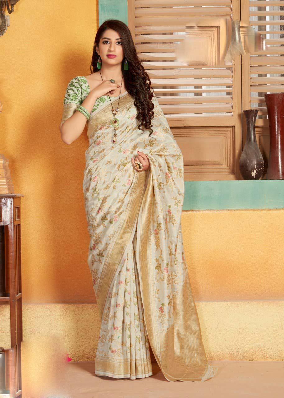 Golden Bordered Cream Colour Banarsi Saree