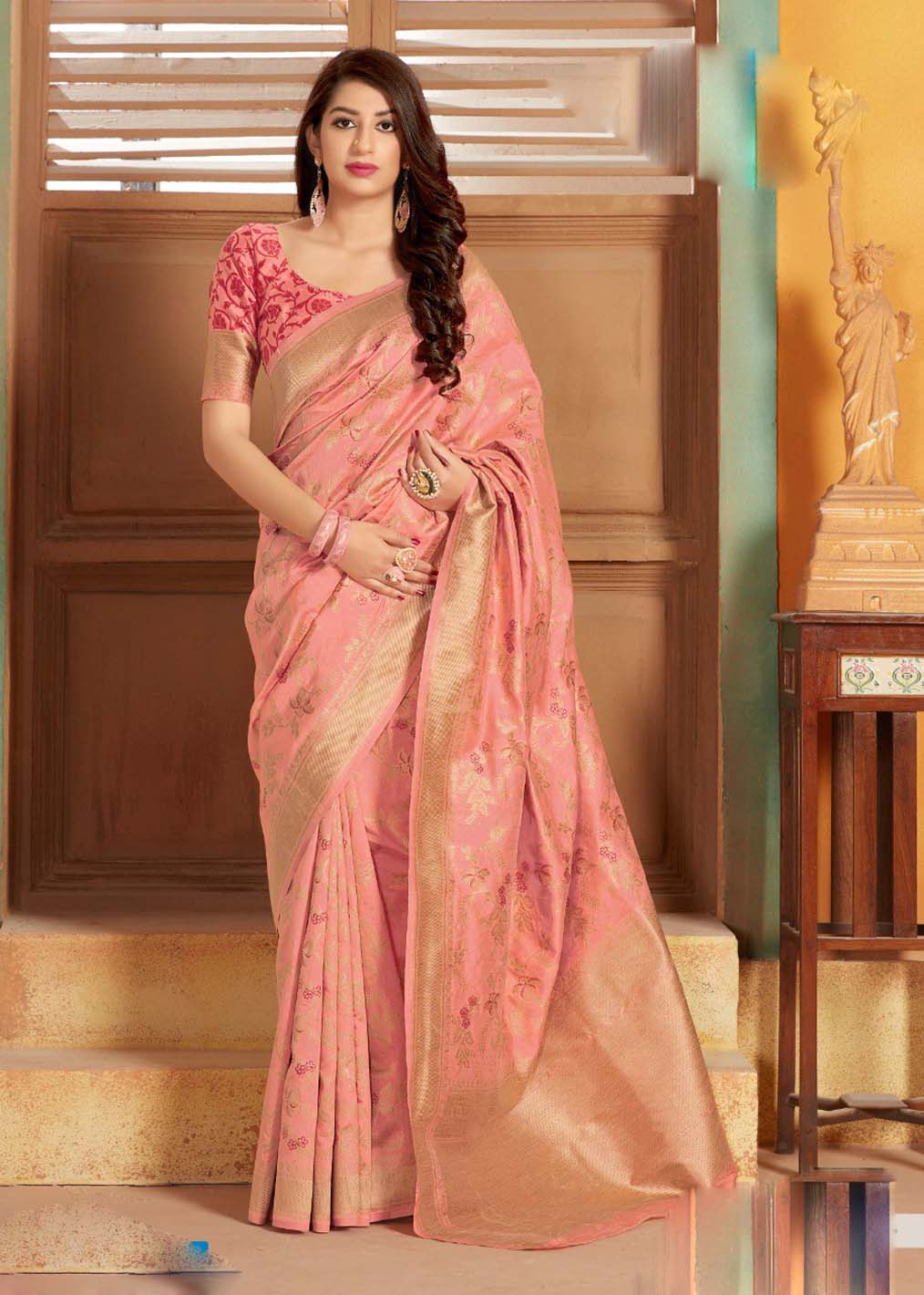 Latest Arrival Pink Banarasi Silk Saree