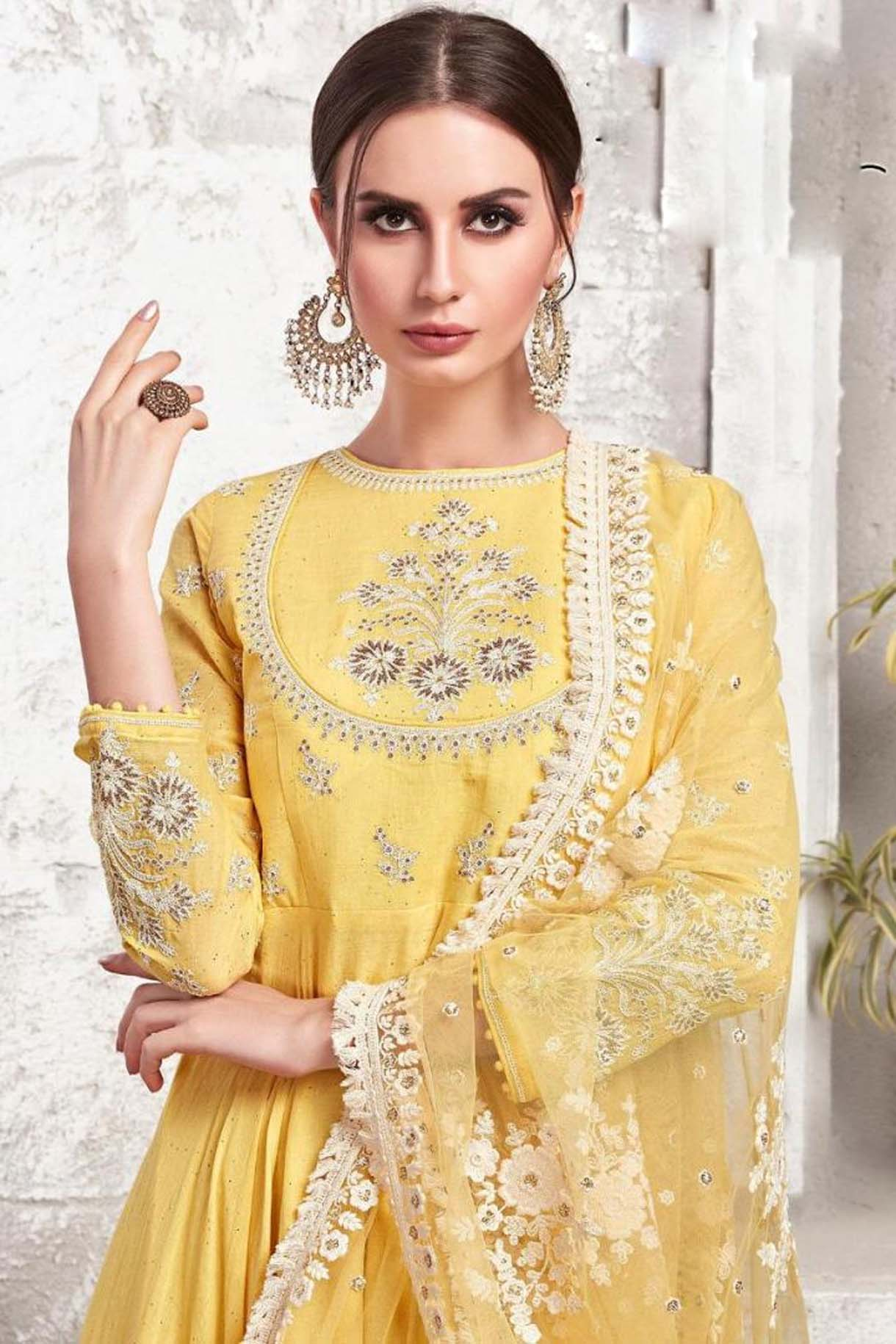 Cotton wedding Dress Plus Size in Yellow Colour for Haldi Function