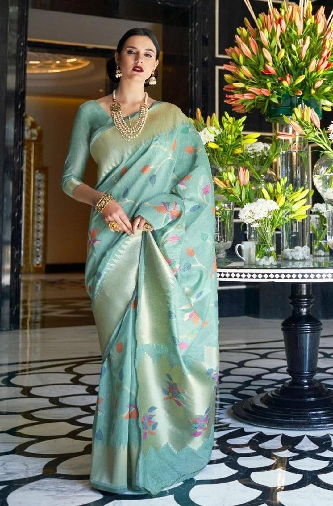 Pure Linen Saree Images