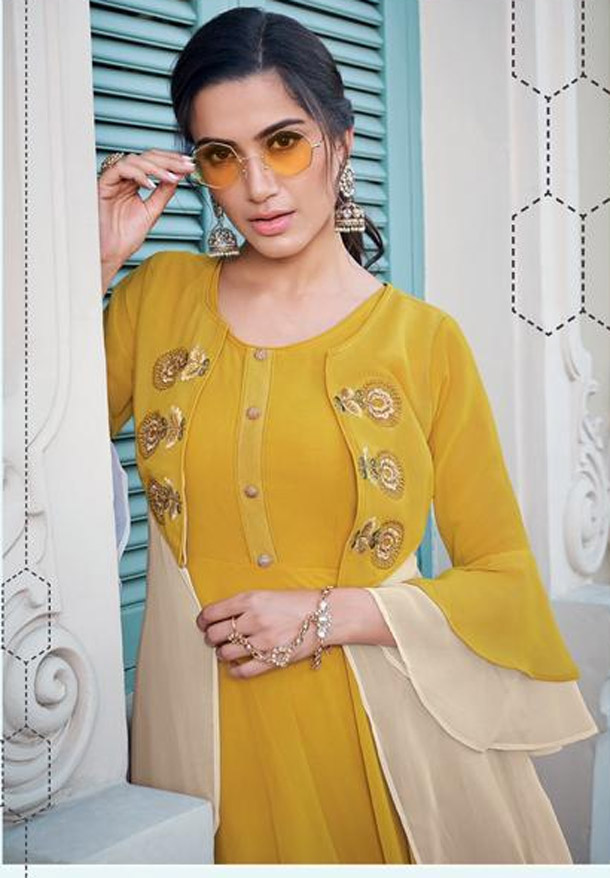 yellow long gown design images