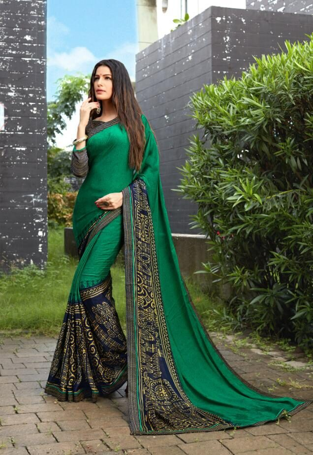 Asam Silk Designer Bordered Saree in Dark Green